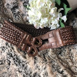 Double Buckle Brown Faux leather Belt Size Small